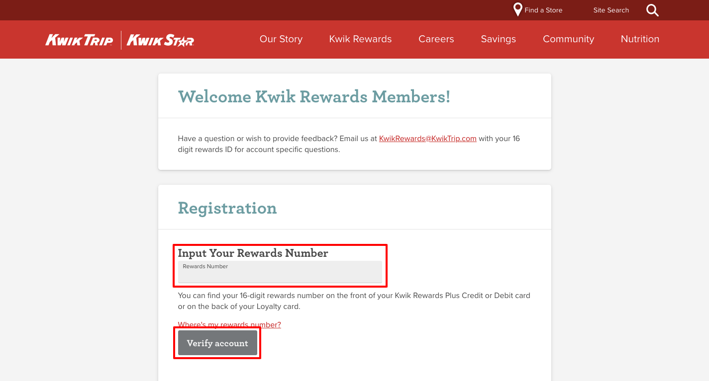 kwik trip rewards register
