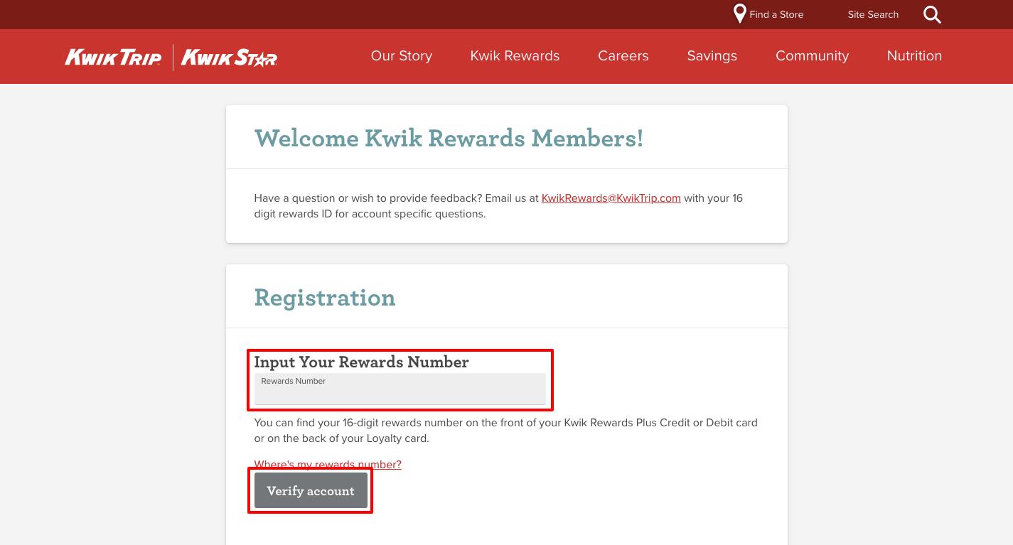 kwik trip rewards register