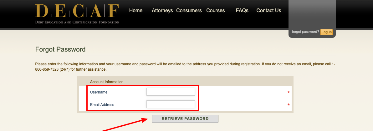 DECAF Forgot Password