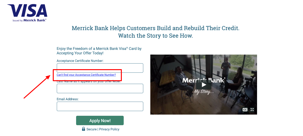 Merrick Bank Credit Card Application Offer Verification