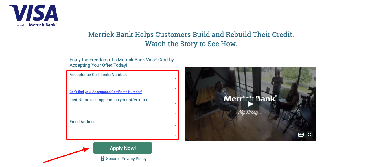 Merrick Bank Credit Card Application Offer