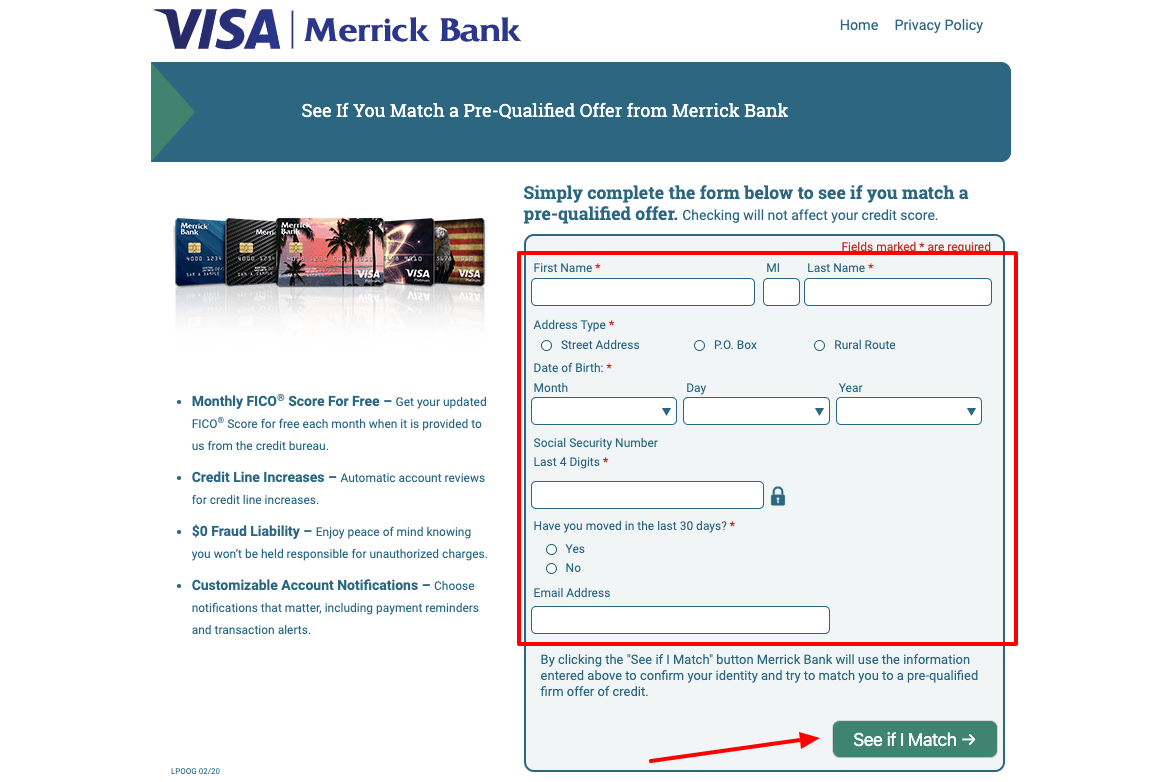 Merrick Bank Credit Card Application