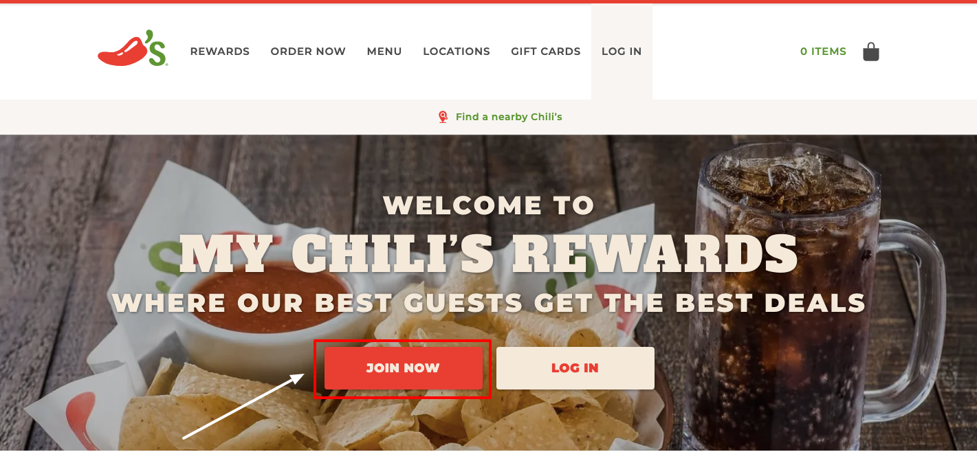 My Chili's Rewards register