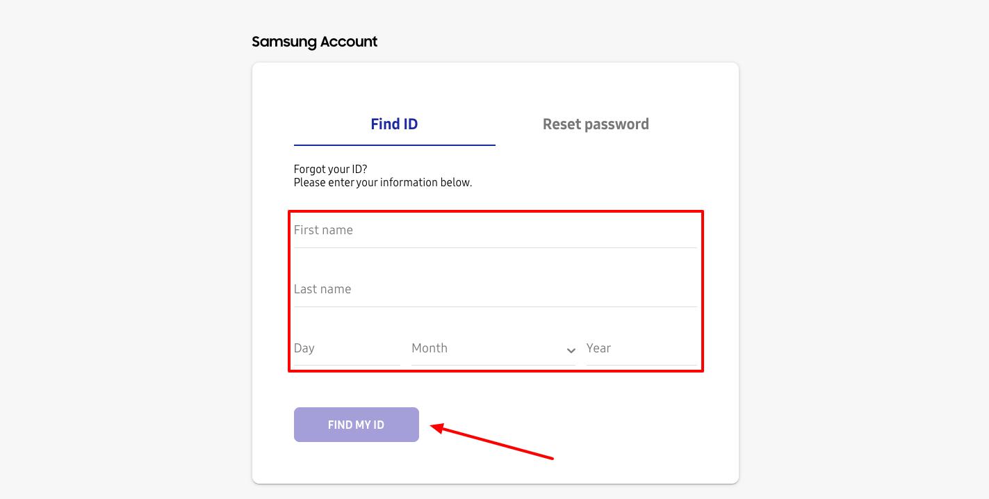 Samsung Account Find ID