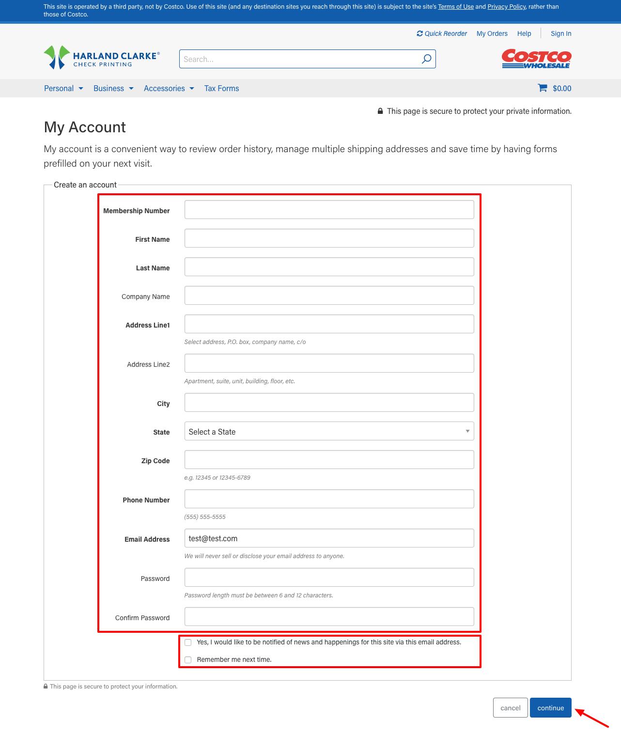 costco checks create account online