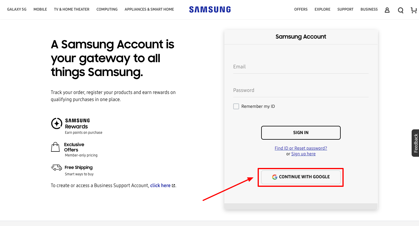 samsung account sign up