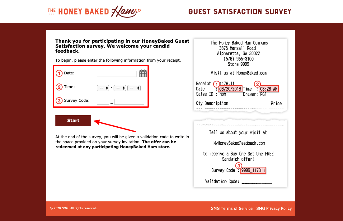 Honey Baked Guest Satisfaction Survey