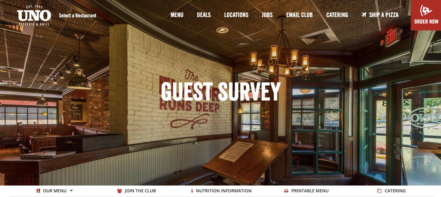 Uno Pizzeria & Grill Guest Survey