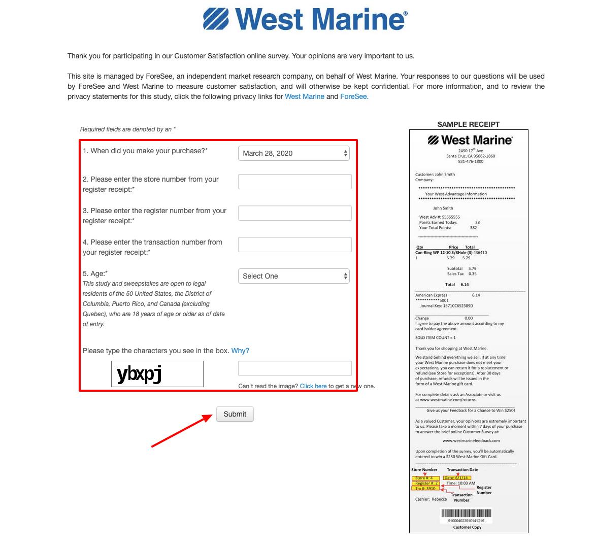 West Marine Survey