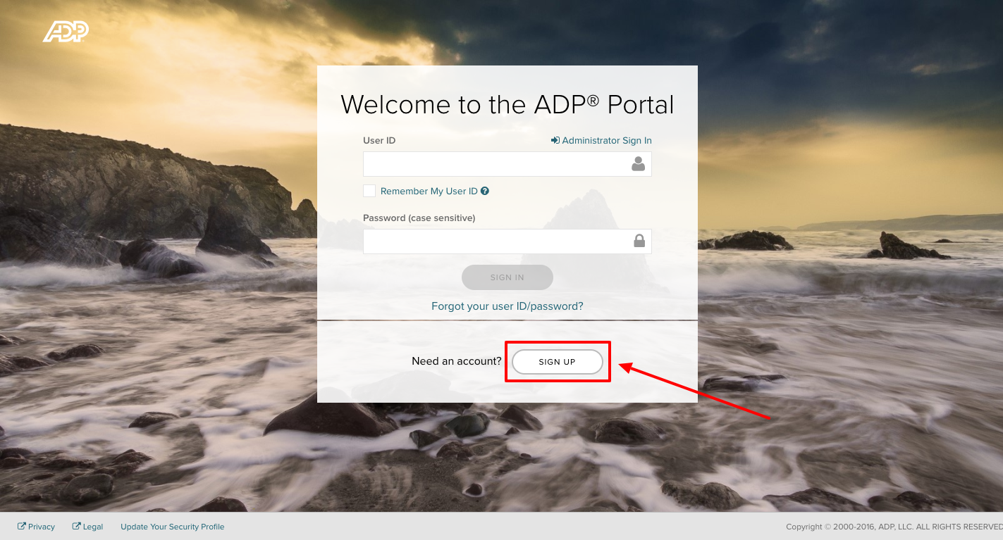 ADP portal Sign up