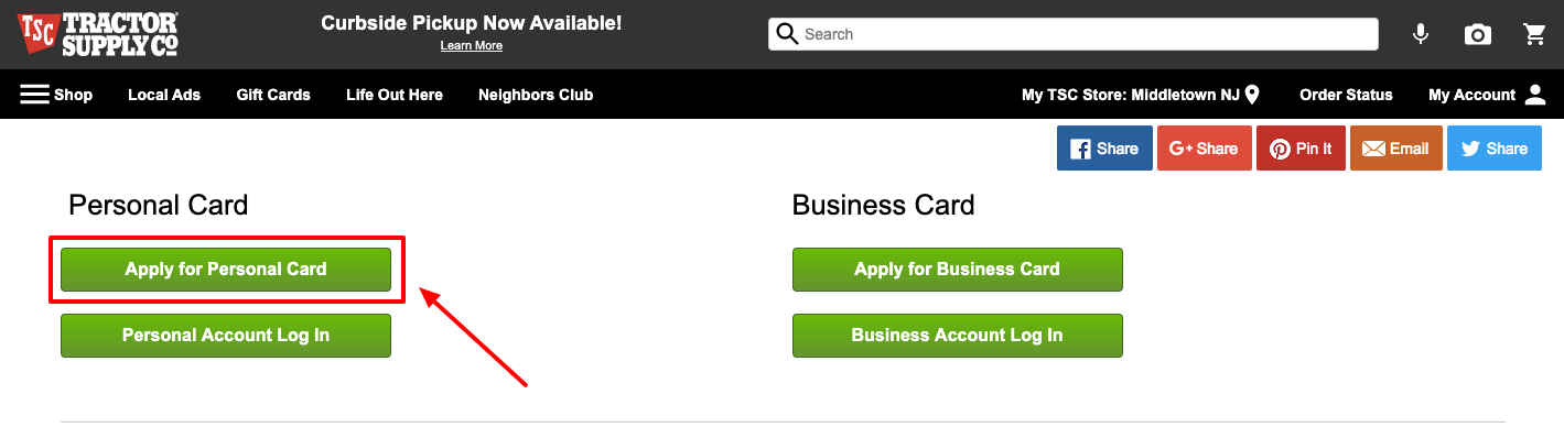 Apply for Tractor Supply personal Card