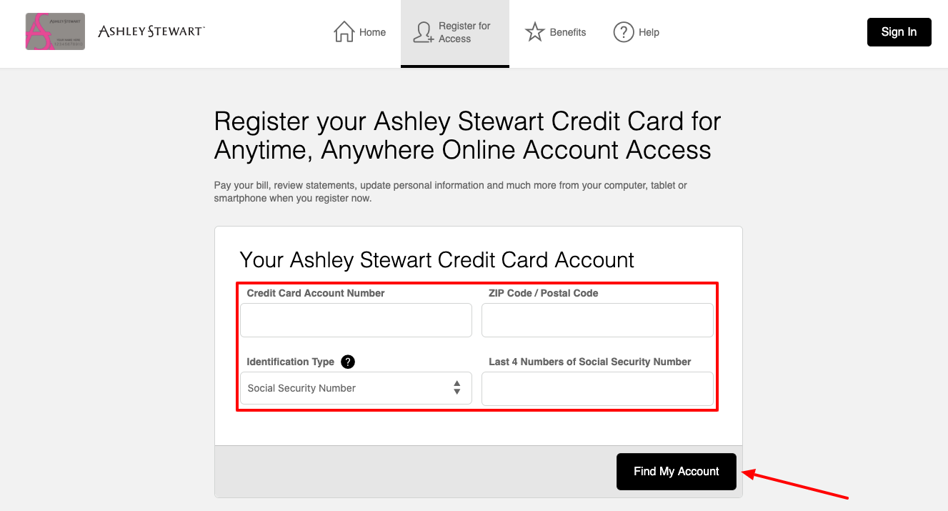 Ashley Stewart Credit Card register