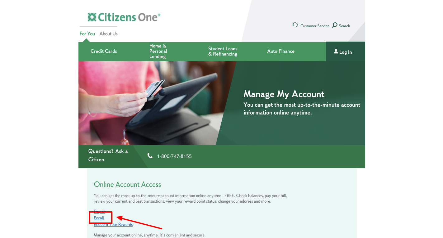 Citizens One MasterCard register
