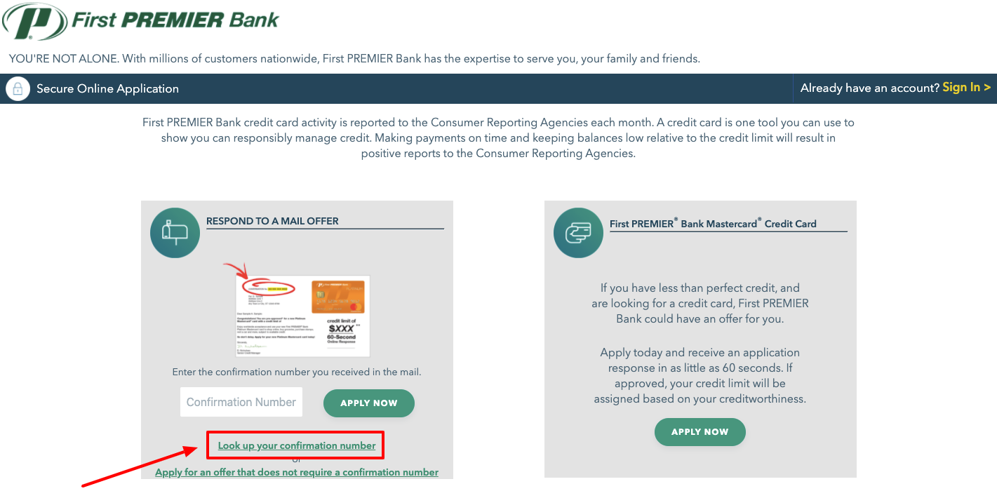 First Premier Bank Credit Card online Application