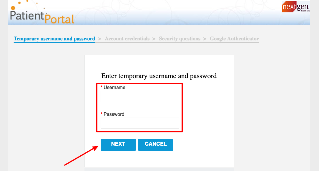 NextGen Patient Portal login