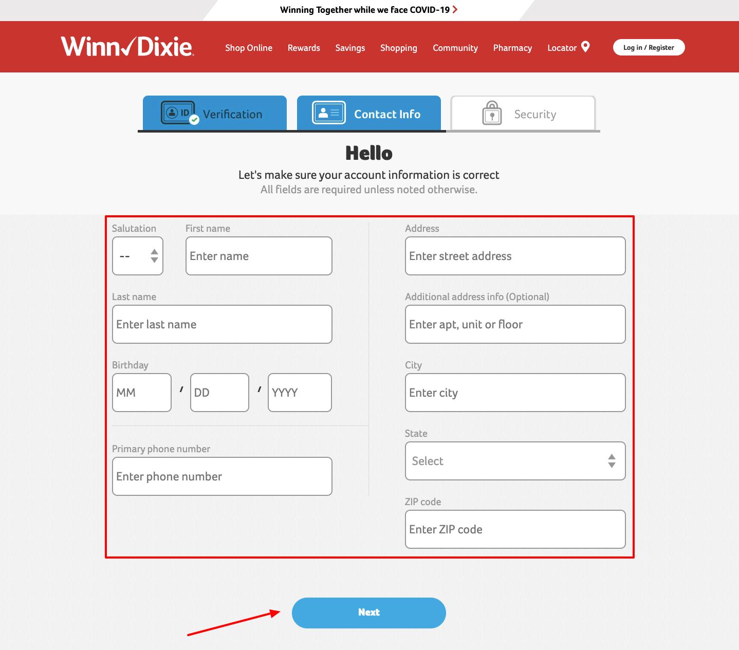 Register to Winn-Dixie Account