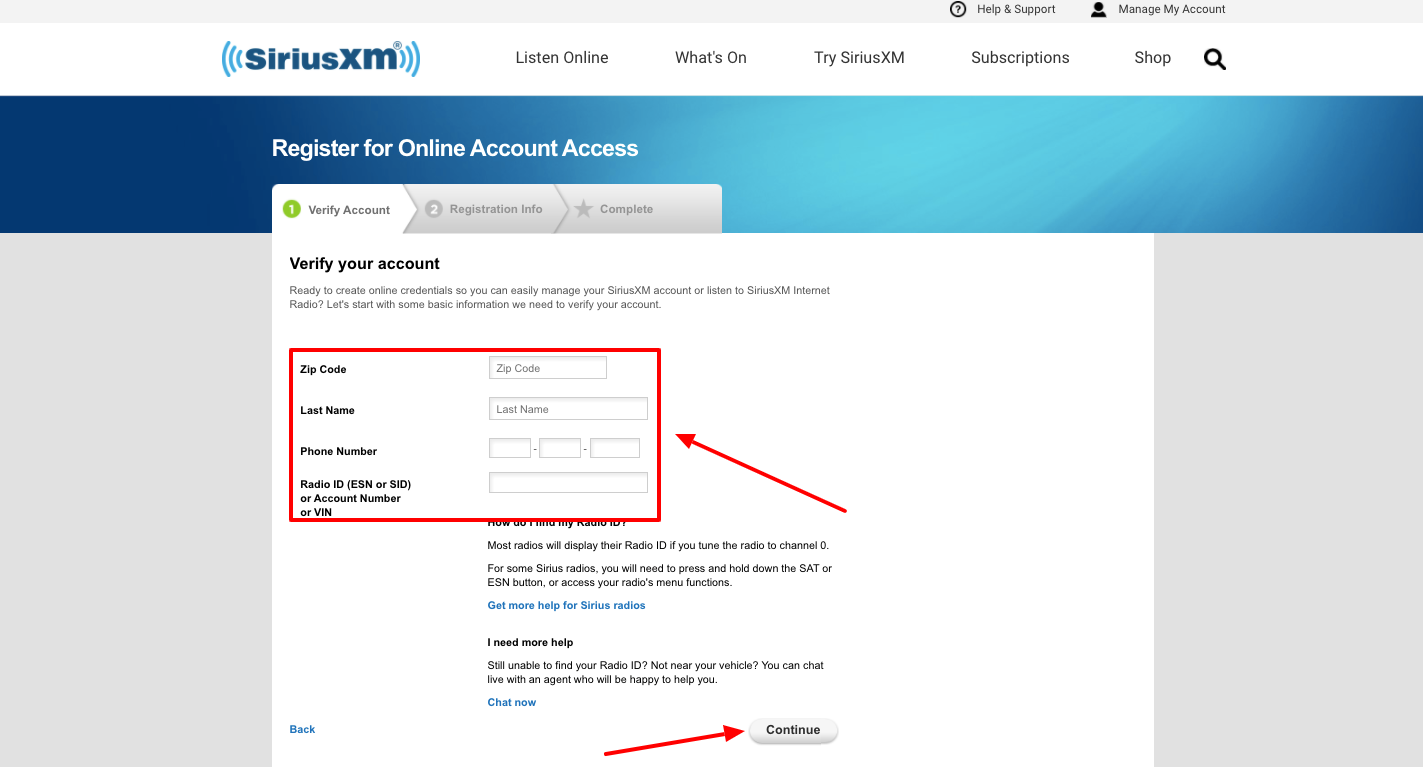 SiriusXM account Registration