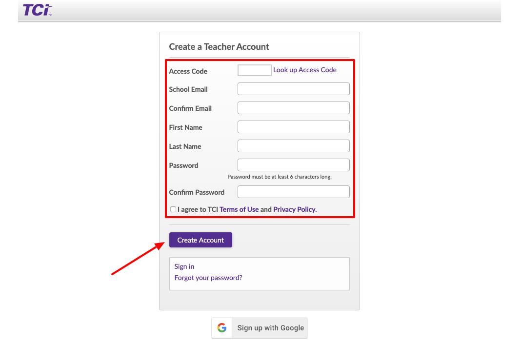 TeachTCI Teacher Register