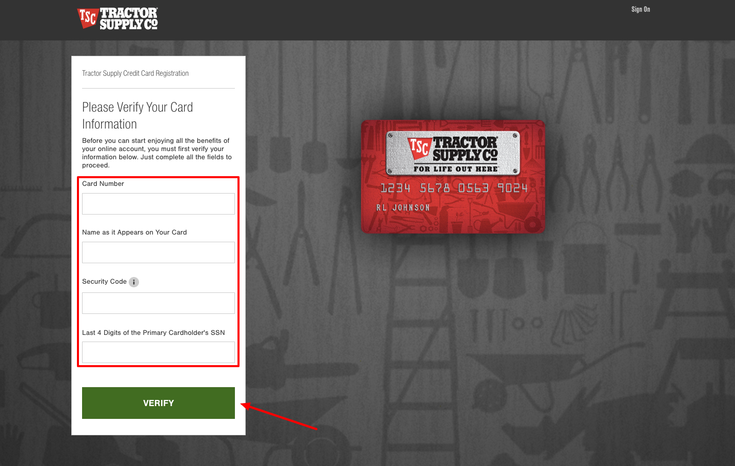 Tractor Supply Credit Card Registration