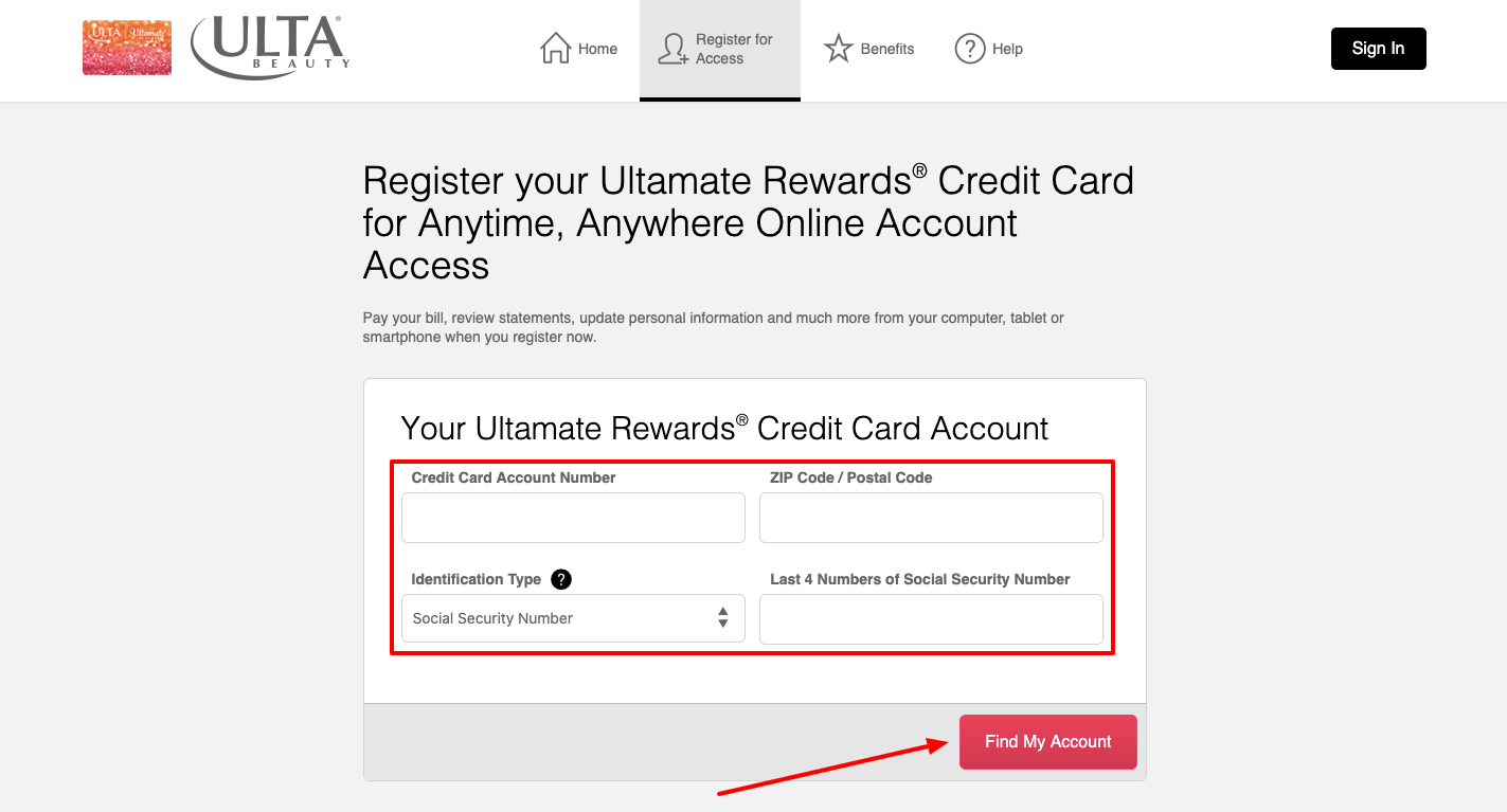Ultamate Rewards Credit Card Registration