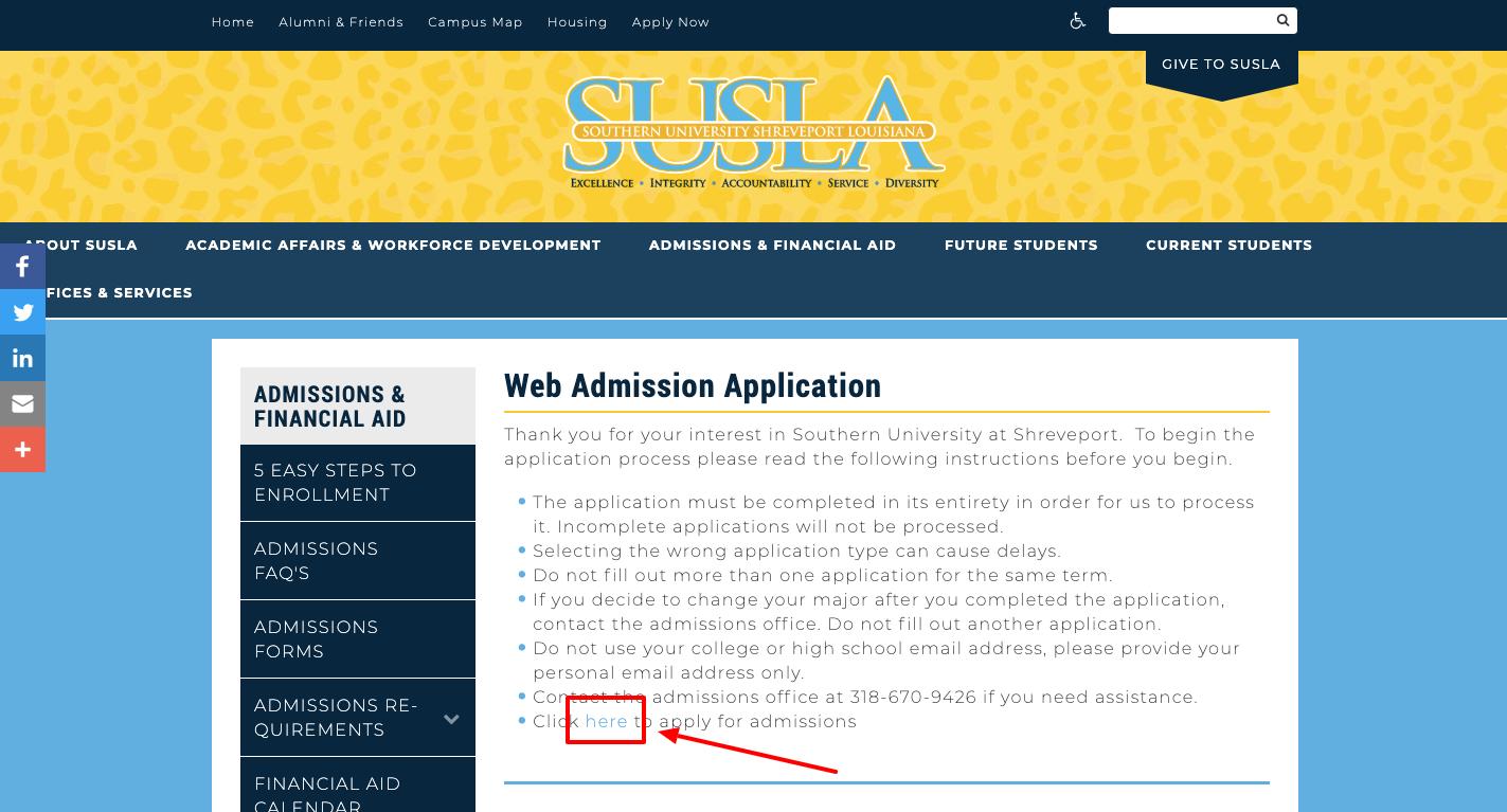 Web Admission Application at SUSLA