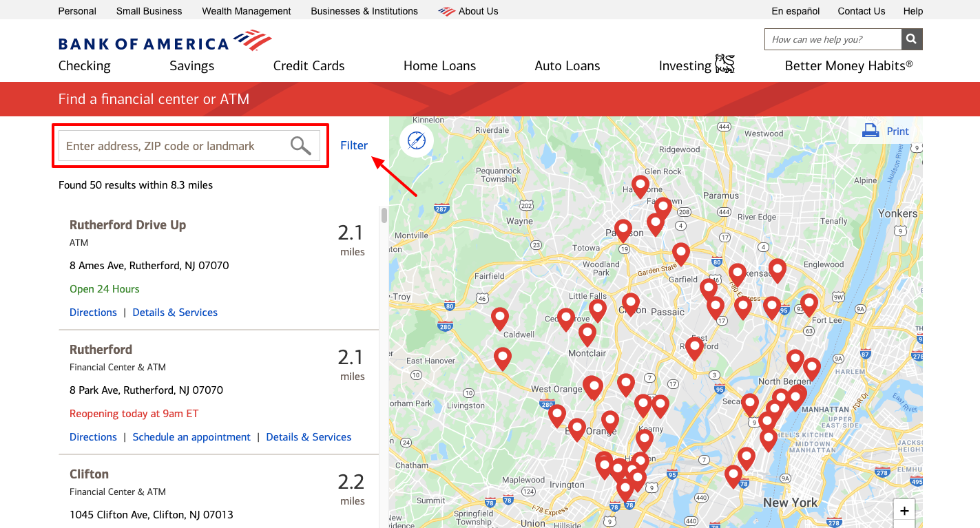 bank of america atm locator