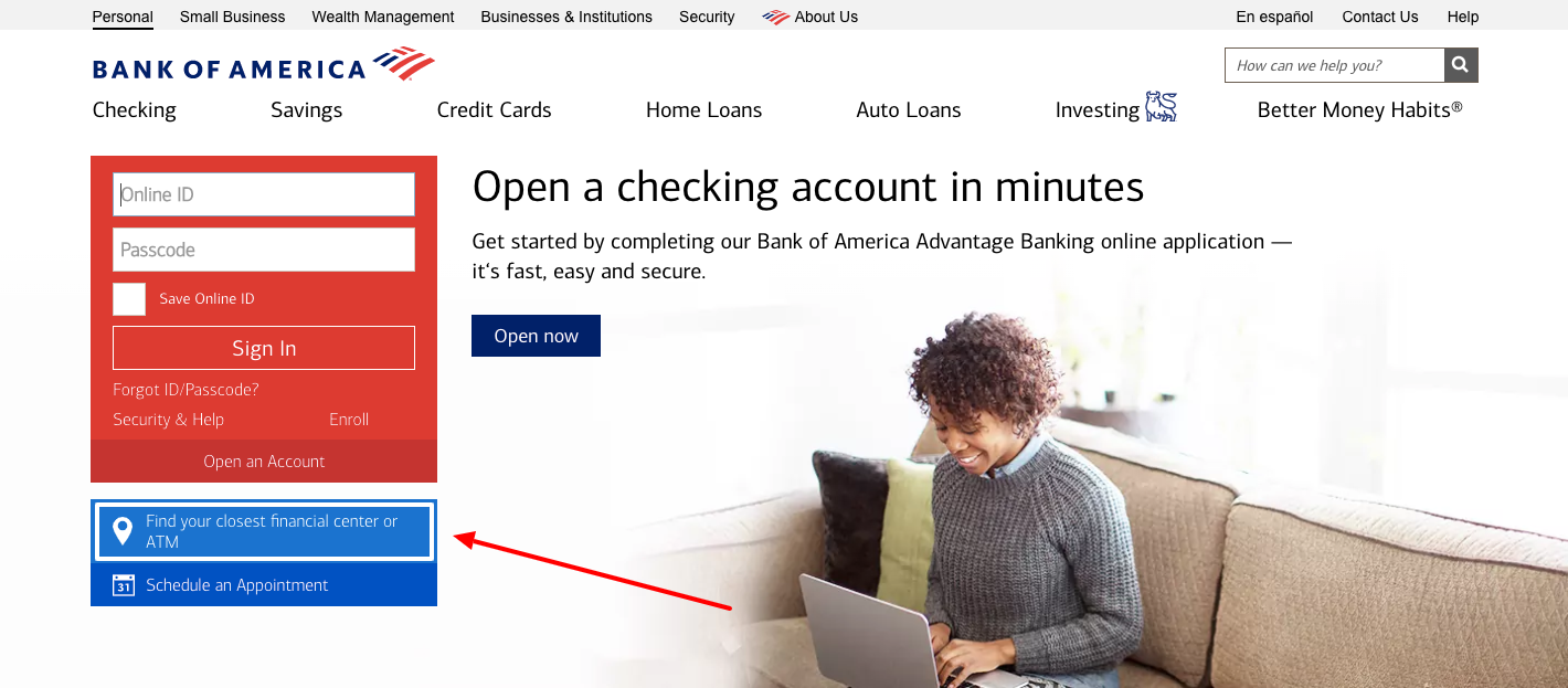 bank of america find atm
