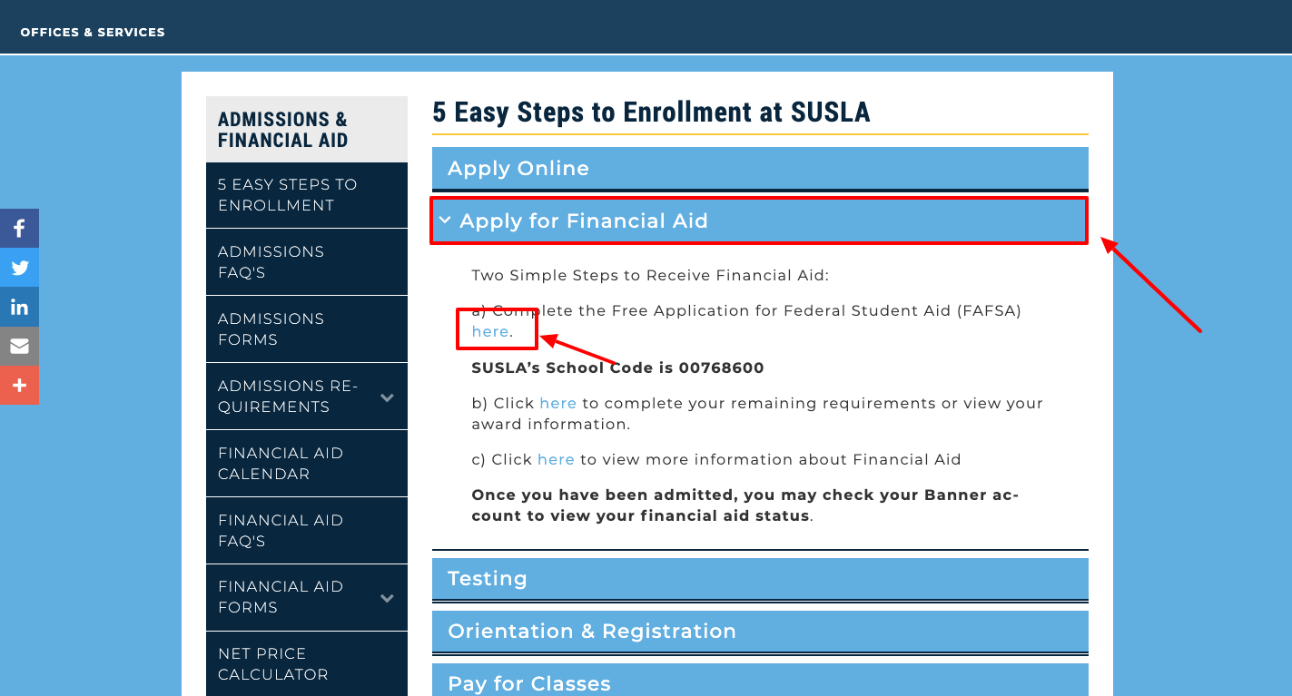 free application for Federal Students Aid at SUSLA