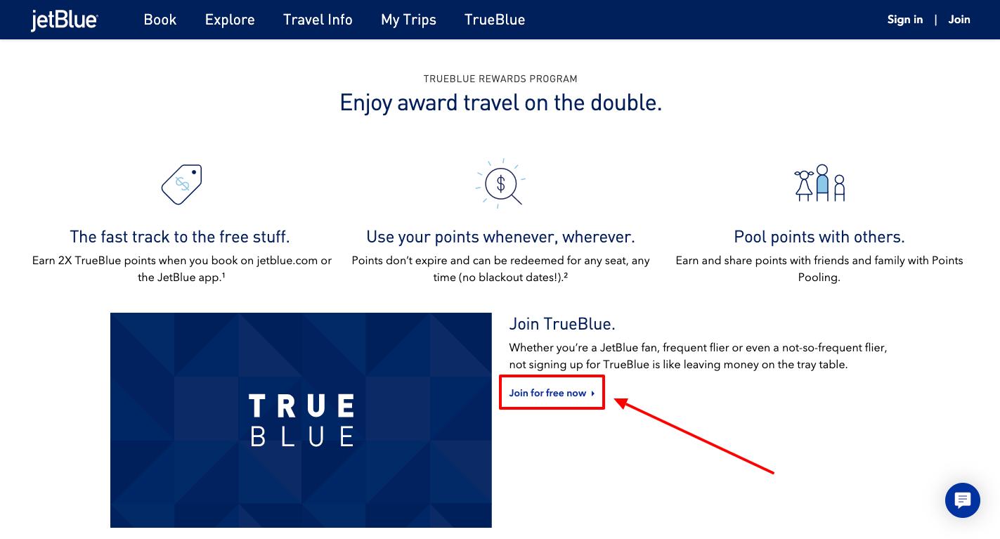 jetblue trueblue sign up