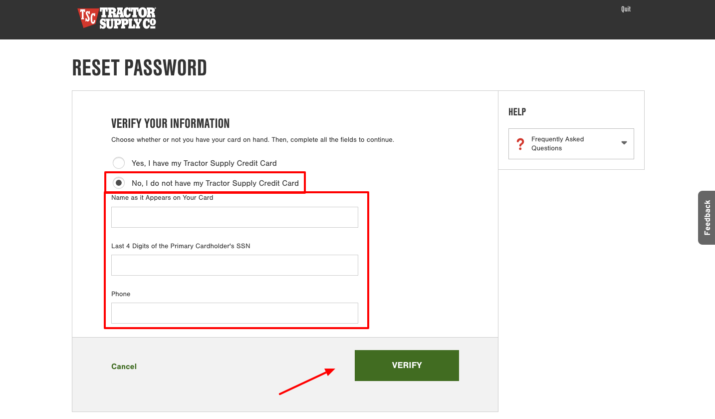tractor supply credit card forgot password