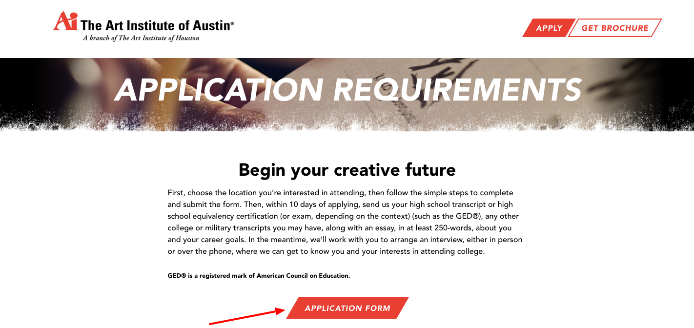 Application Requirements The Art Institute of Austin