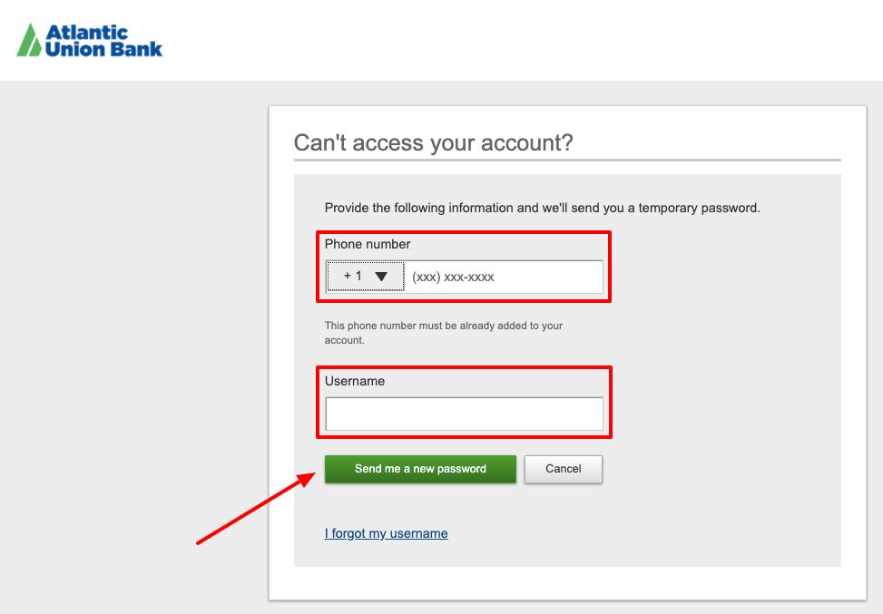 Atlantic Union Bank forget password