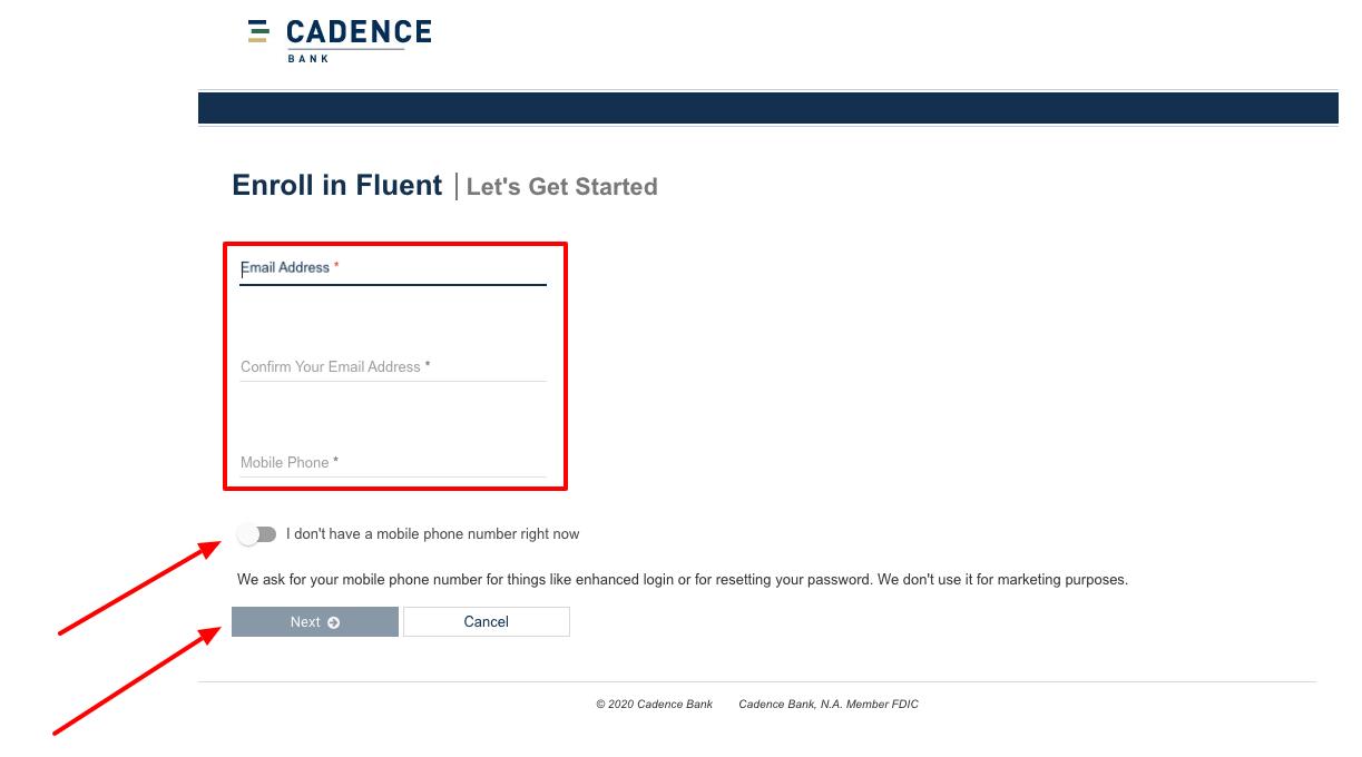 Cadence Bank enroll