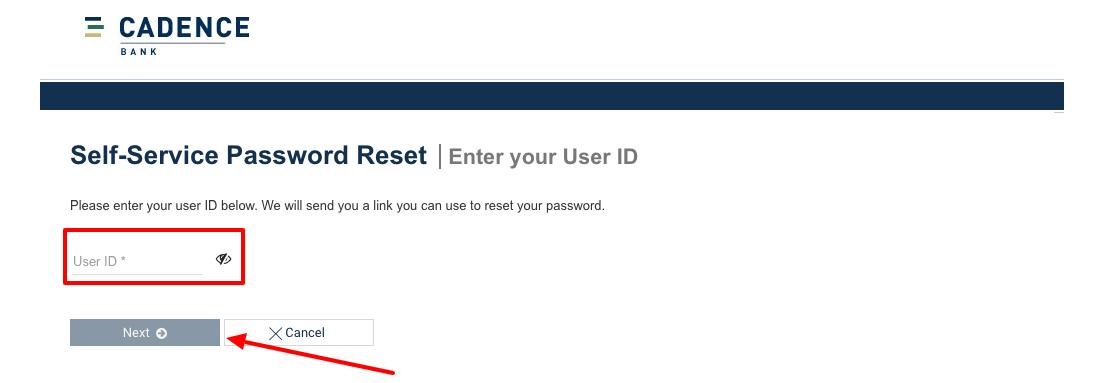 Cadence Bank reset password