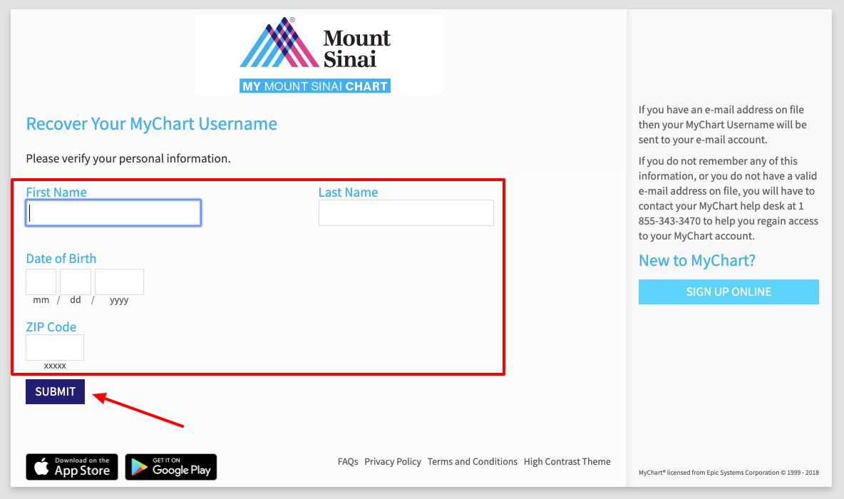 Mount Sinai MyChart Reset username