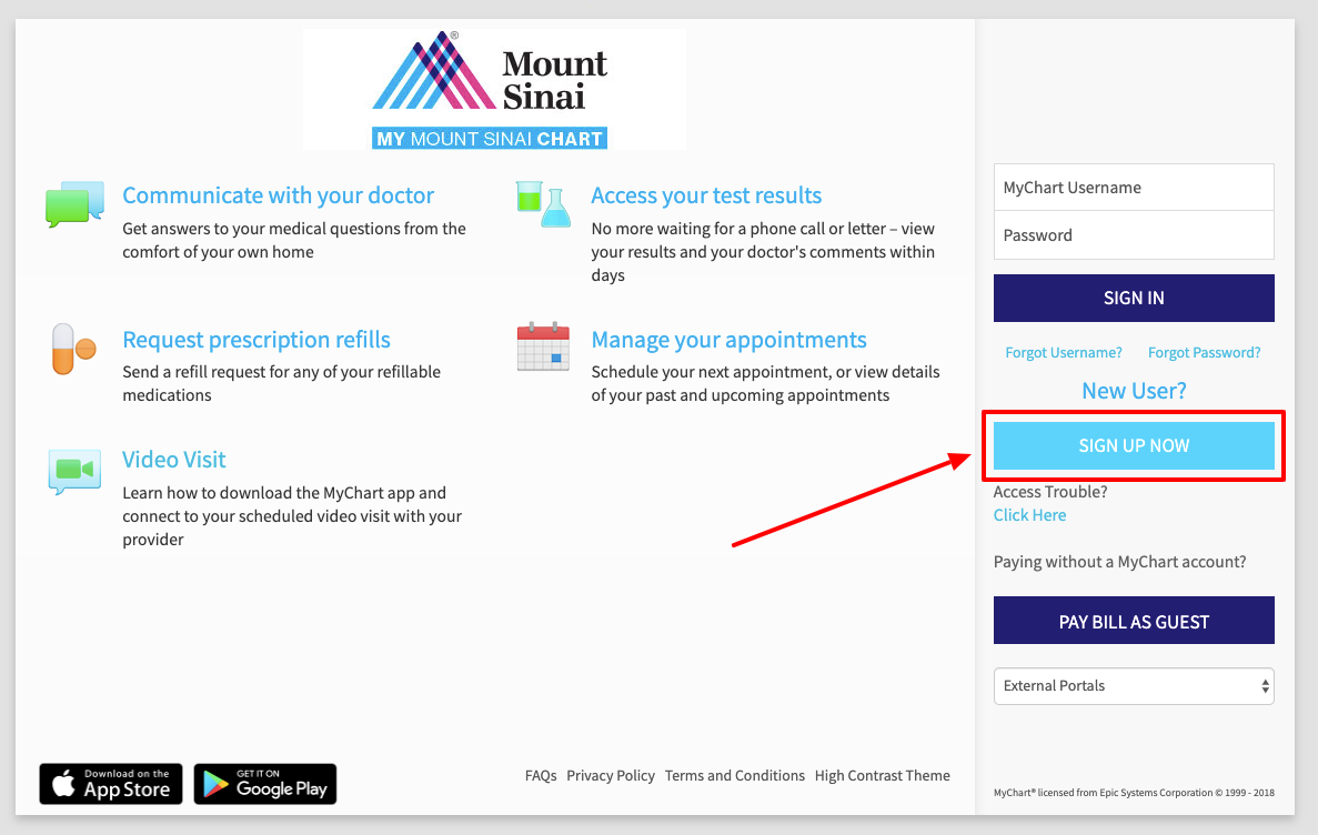 Mount Sinai MyChart Sign up