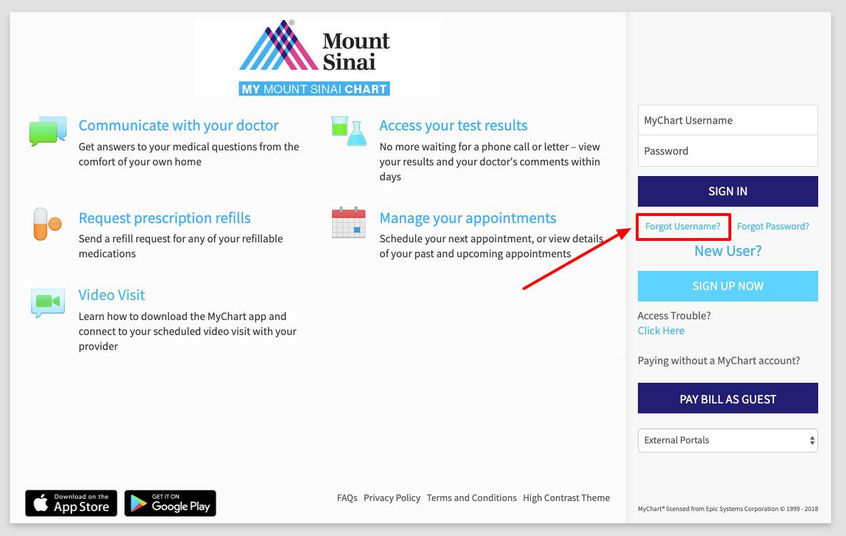 Mount Sinai Sign in