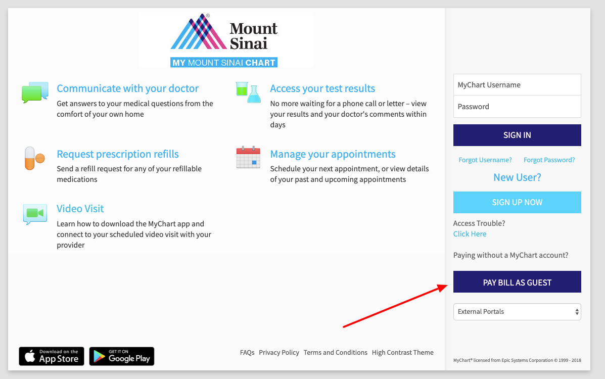 Mount Sinai pay bill