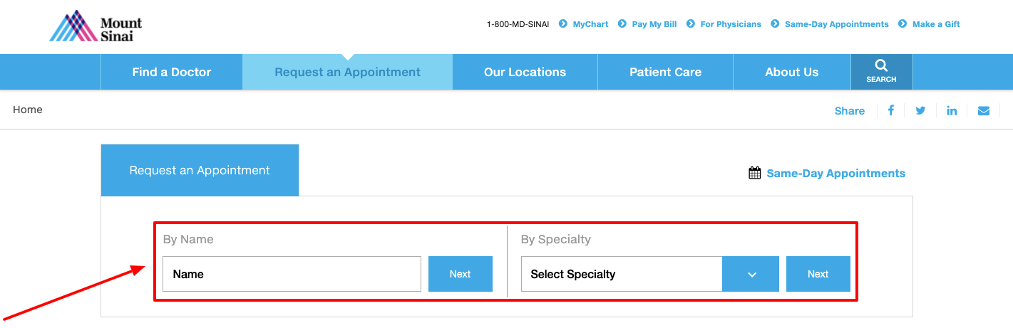 Request an Appointment Mount Sinai New York