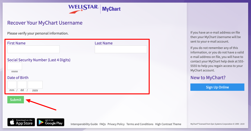 Wellstar MyChart forget username