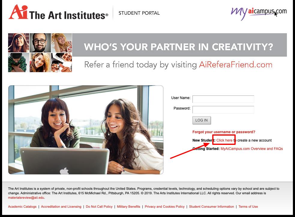 the Art Institute in Austin sign up