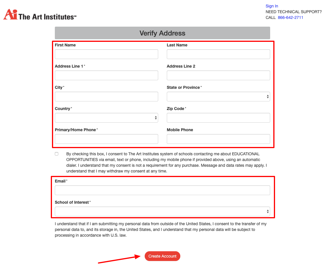 the Art Institute of Austin online Application Form
