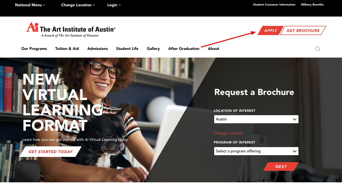 the Art Institute of Austin online Application