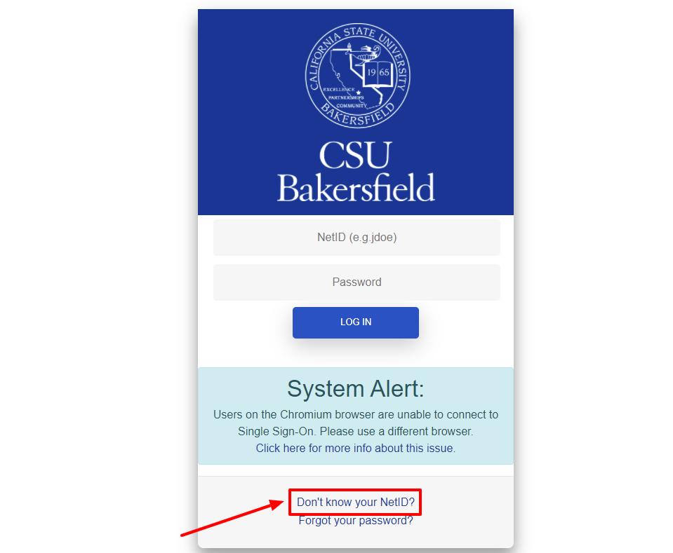 CSU Bakersfield NetID lookup