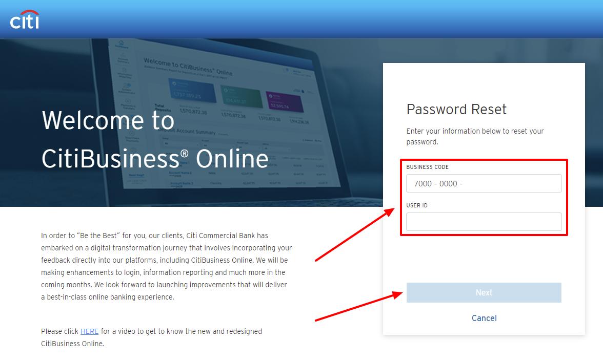 Citi Business forgot password