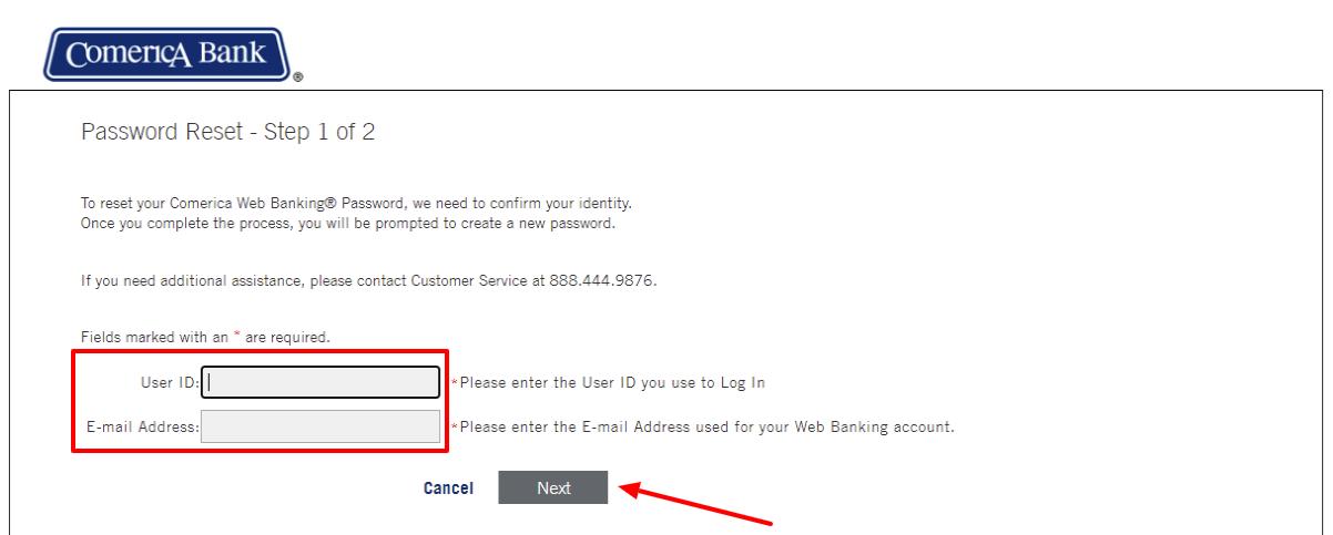 comerica web banking forgot pasword