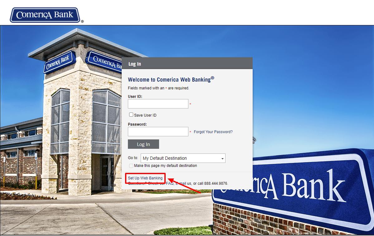 comerica web banking set up