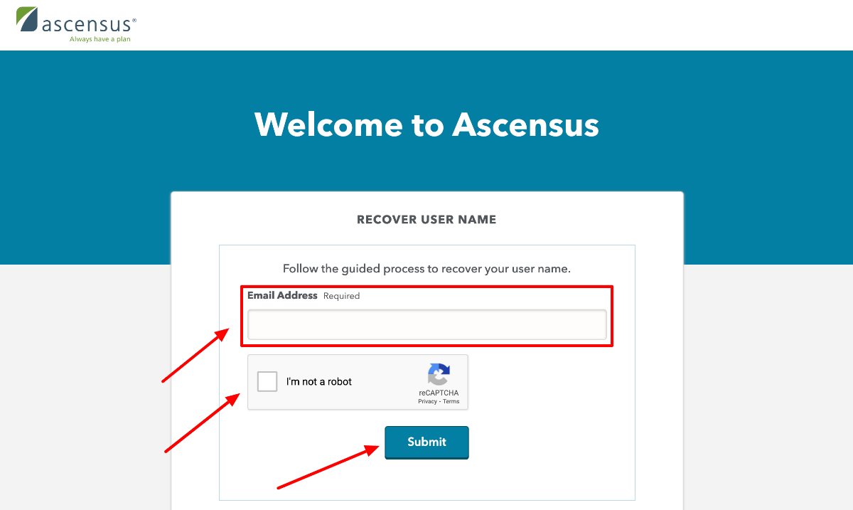 Ascensus Employer Recover Username