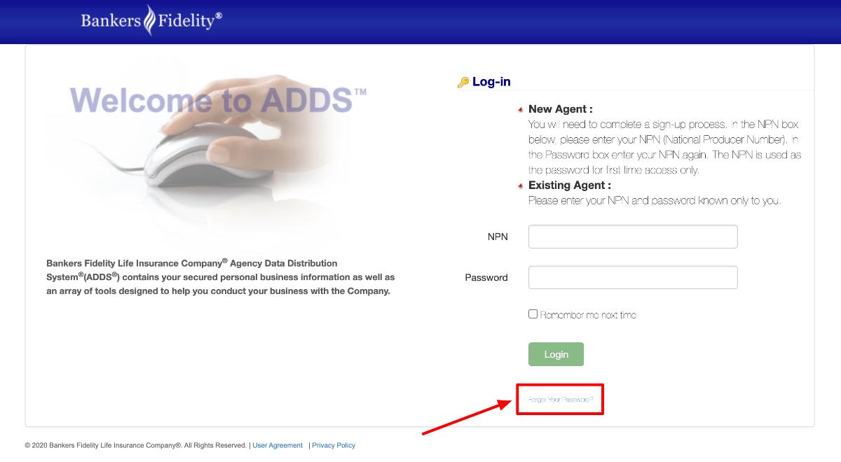Bankers Fidelity Agent forgot password
