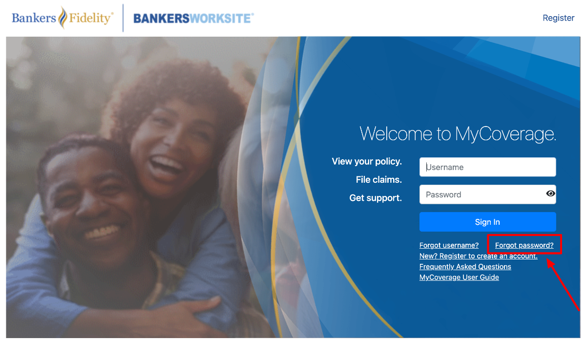 Bankers Fidelity Policyholders Reset password